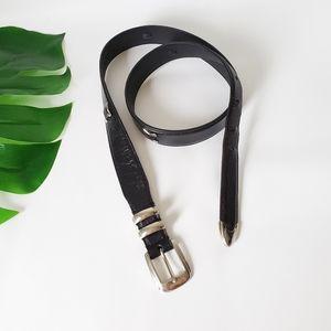Johnston & Murphy Leather Belt Silver Hardware